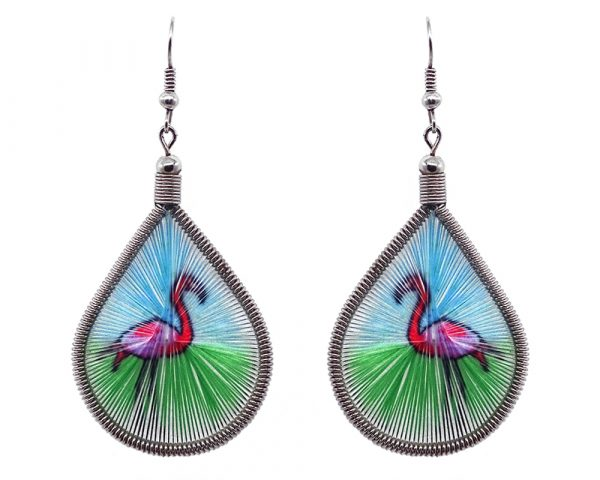 Teardrop-shaped thread dangle earrings with alpaca silver wire and flamingo graphic image in hot pink, light blue, and green color combination.