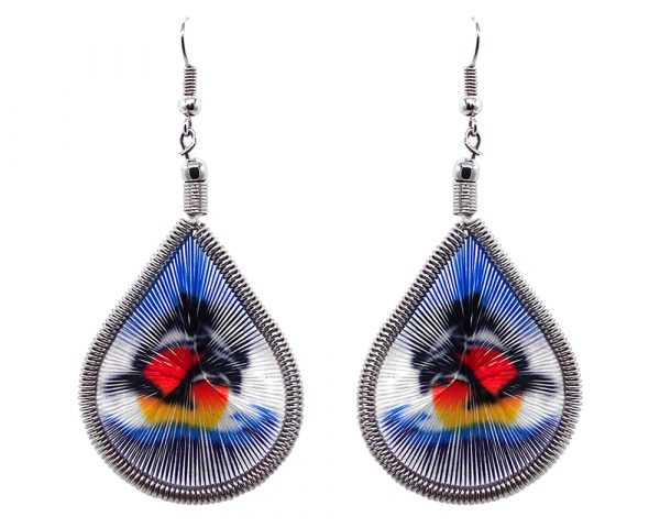 Teardrop-shaped thread dangle earrings with alpaca silver wire and orca killer whale graphic image in black, white, and multicolored color combination.