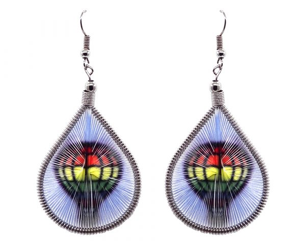 Teardrop-shaped thread dangle earrings with alpaca silver wire and air balloon graphic image in rainbow multicolored, white, and black color combination.