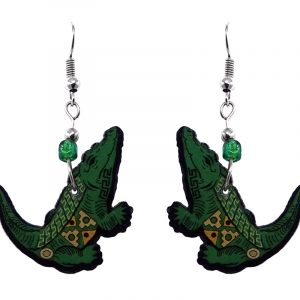 Tribal pattern alligator acrylic dangle earrings with beaded metal hooks in green, yellow, and black color combination.