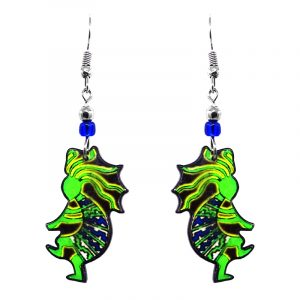 Mia Jewel Shop: Tribal Kokopelli Earrings - Neon-Green/Blue