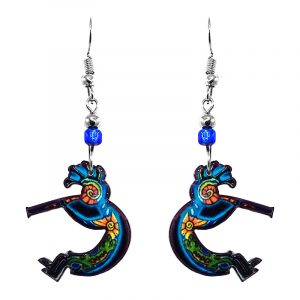 Mia Jewel Shop: Tribal Kokopelli Earrings - Turquoise/Gold/Green