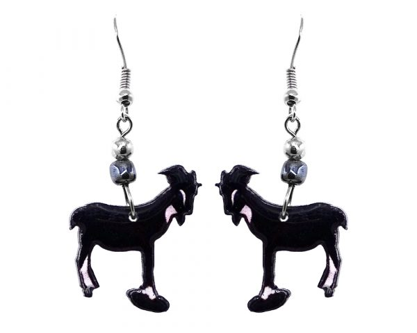 Goat acrylic dangle earrings with beaded metal hook in black and white color combination.