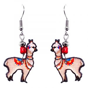 Alpaca acrylic dangle earrings with beaded metal hooks in beige, red, blue, and orange color combination.