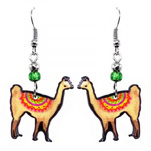 Alpaca acrylic dangle earrings with beaded metal hooks in beige, red, pink, yellow, and lime green color combination.