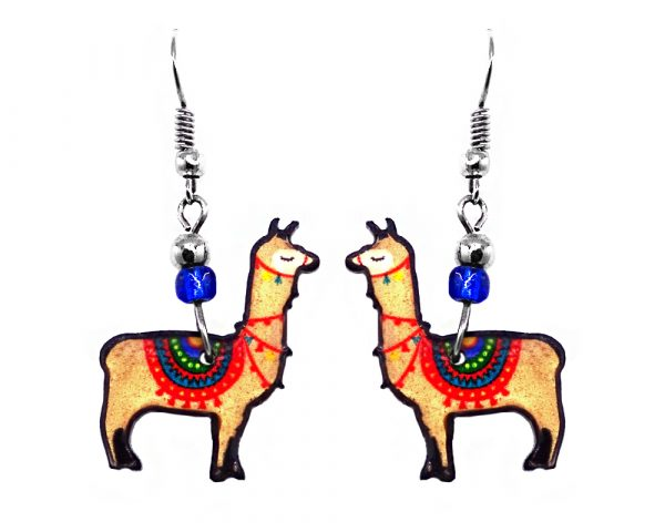 Llama acrylic dangle earrings with beaded metal hooks in beige, blue, red, green, and yellow color combination.