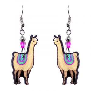 Llama acrylic dangle earrings with beaded metal hooks in beige, magenta pink, mint, and turquoise color combination.