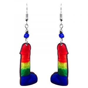 Large penis dildo acrylic dangle earrings with beaded metal hooks in rainbow colors.