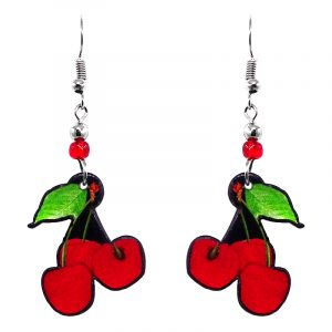 Cherry fruit acrylic dangle earrings with beaded metal hooks in red, black, and lime green color combination.