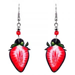 Sliced strawberry fruit acrylic dangle earrings with beaded metal hooks in red and green color combination.