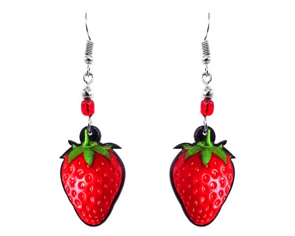 Strawberry fruit acrylic dangle earrings with beaded metal hooks in red and green color combination.