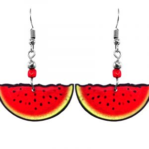Watermelon fruit acrylic dangle earrings with beaded metal hooks in red, black, and light green color combination.
