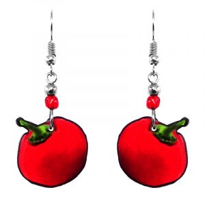 Tomato fruit acrylic dangle earrings with beaded metal hooks in red and green color combination.