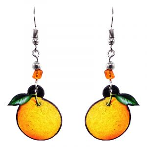 Orange fruit acrylic dangle earrings with beaded metal hooks in golden yellow, orange, and green color combination.
