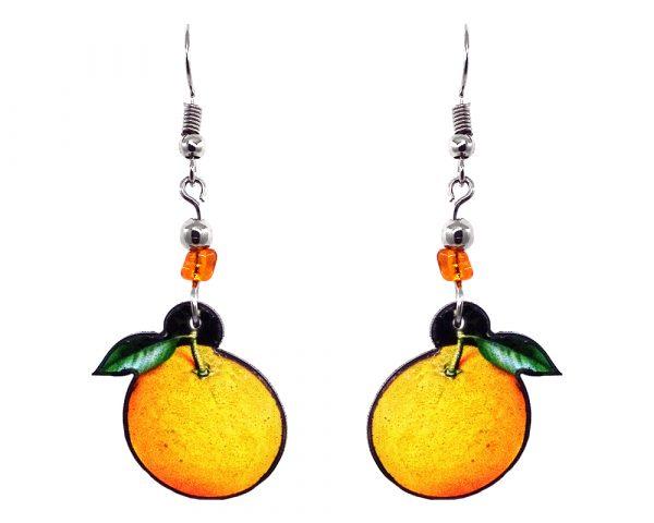 Orange fruit acrylic dangle earrings with beaded metal hooks in golden yellow, orange, and green color combination.