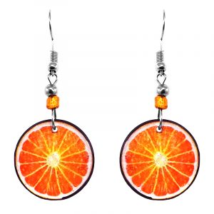 Sliced orange fruit acrylic dangle earrings with beaded metal hooks in orange, peach, and white color combination.