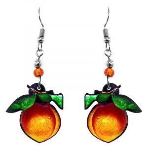 Peach fruit acrylic dangle earrings with beaded metal hooks in orange, golden yellow, dark orange, and green color combination.