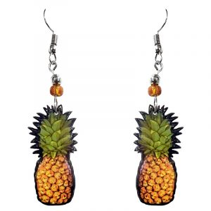 Pineapple fruit acrylic dangle earrings with beaded metal hooks in tan, golden yellow, and green color combination.