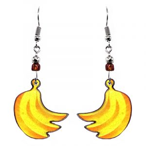 Banana fruit acrylic dangle earrings with beaded metal hooks in yellow and golden yellow color combination.