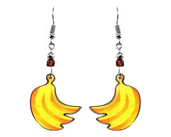 Banana fruit acrylic dangle earrings with beaded metal hooks in yellow and golden yellow color combination.