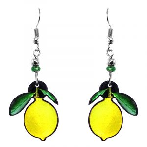 Lemon fruit acrylic dangle earrings with beaded metal hooks in neon yellow and green color combination.
