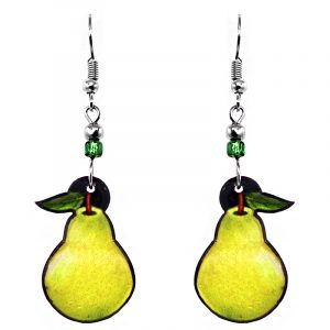 Pear fruit acrylic dangle earrings with beaded metal hooks in green yellow color combination.