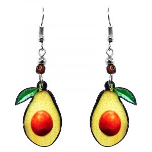 Avocado fruit acrylic dangle earrings with beaded metal hooks in lime green, yellow, green, and brown color combination.