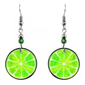 Lime fruit acrylic dangle earrings with beaded metal hooks in lime green and white color combination.