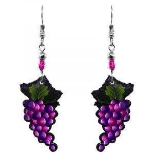 Grape fruit acrylic dangle earrings with beaded metal hooks in purple and dark green color combination.