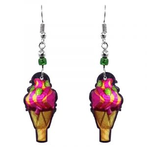 Ice cream cone acrylic dangle earrings with beaded metal hooks in pink, yellow, lime green, and tan color combination.