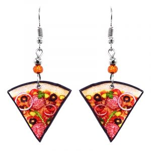 Pizza slice acrylic dangle earrings with beaded metal hooks in red, orange, beige, brown, green, and yellow color combination.