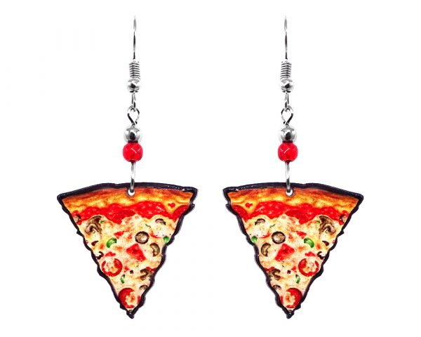 Pizza slice acrylic dangle earrings with beaded metal hooks in beige, red, tan, orange and green color combination.