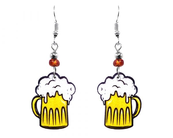 Beer mug acrylic dangle earrings with beaded metal hooks in yellow, white, and black color combination.