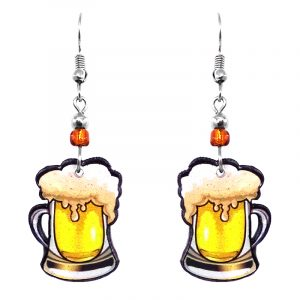 Beer mug acrylic dangle earrings with beaded metal hooks in beige, yellow, white, and black color combination.