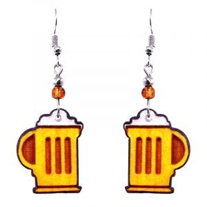 Beer mug acrylic dangle earrings with beaded metal hooks in golden yellow, dark orange, and white color combination.
