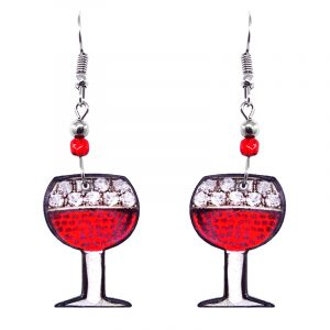 Wine glass acrylic dangle earrings with beaded metal hooks in red, white, and black color combination.