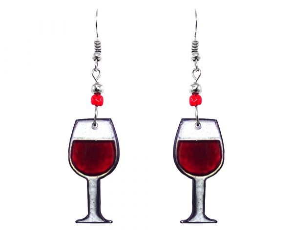 Wine glass acrylic dangle earrings with beaded metal hooks in dark red burgundy and white color combination.