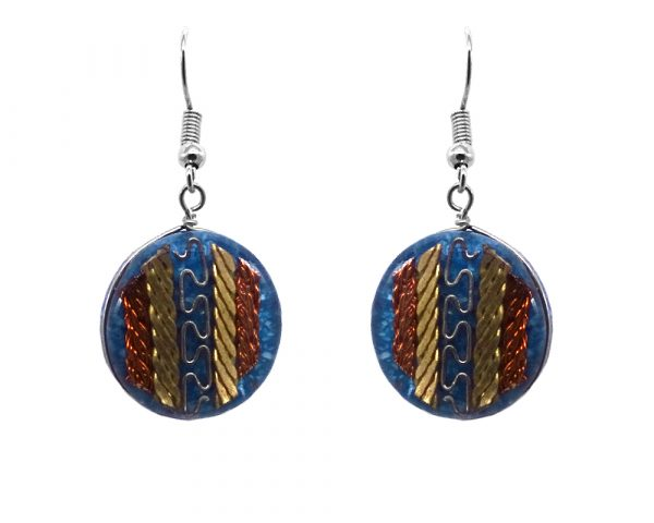 Round-shaped acrylic resin and crushed chip stone inlay dangle earrings with multicolored metal tribal pattern design in blue color.