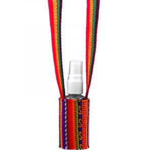 Handwoven hand sanitizer holder necklace with multicolored tribal print striped pattern material in Rasta colors.