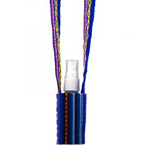 Handwoven hand sanitizer holder necklace with multicolored tribal print striped pattern material in blue and multicolored color combination.