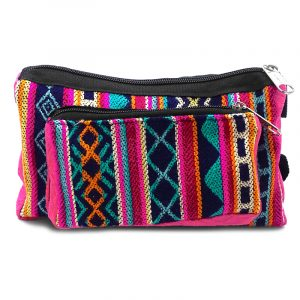 Rectangle-shaped fanny pack bag with Aztec inspired tribal print pattern in pink, indigo purple, hot pink, orange, teal, and light yellow color combination