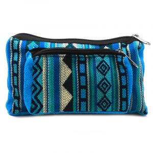 Rectangle-shaped fanny pack bag with Aztec inspired tribal print pattern in light blue, dark blue, turquoise, teal, and light yellow color combination.