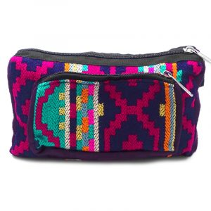 Rectangle-shaped fanny pack bag with Aztec inspired tribal print pattern in dark purple, hot pink, teal green, orange, and light yellow color combination.