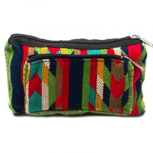 Rectangle-shaped fanny pack bag with Aztec inspired tribal print pattern in lime green, navy blue, red, teal, yellow, tan, and white color combination.