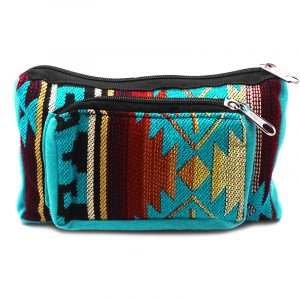Rectangle-shaped fanny pack bag with Aztec inspired tribal print pattern in turquoise blue, dark orange, light yellow,dark red, black and white color combination.