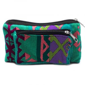 Rectangle-shaped fanny pack bag with Aztec inspired tribal print pattern in teal green, pink, purple, and lime green color combination.