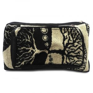 Rectangle-shaped fanny pack bag with tree of life print pattern in beige and black color combination.