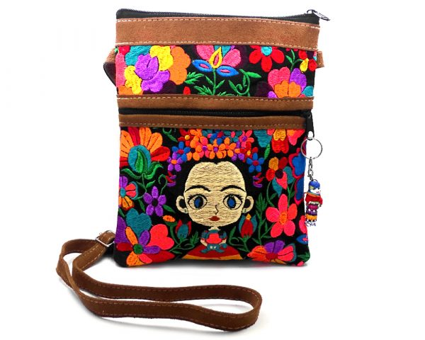 Medium-sized slim rectangular brown vegan leather purse bag with cotton embroidered Frida Kahlo cartoon doll and floral designs in black and multicolored color combination.