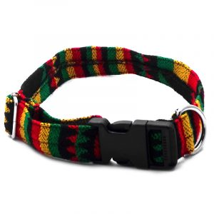 Pet dog collar with Aztec inspired tribal print pattern in Rasta colors.