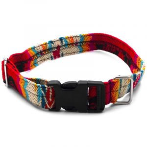 Pet dog collar with Aztec inspired tribal print pattern in red, beige, and multicolored color combination.